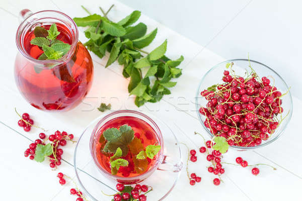 Redcurrant drink in transparent glass carafe and cup Stock photo © artsvitlyna