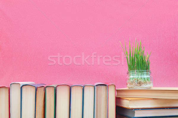 Stock photo: Fresh green wheat sprouts in glass jar on books at pink backgrou