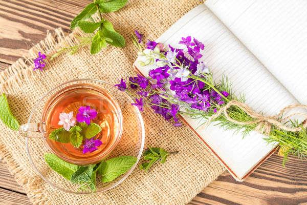 Vidrio taza verano té hierbas té de hierbas Foto stock © artsvitlyna