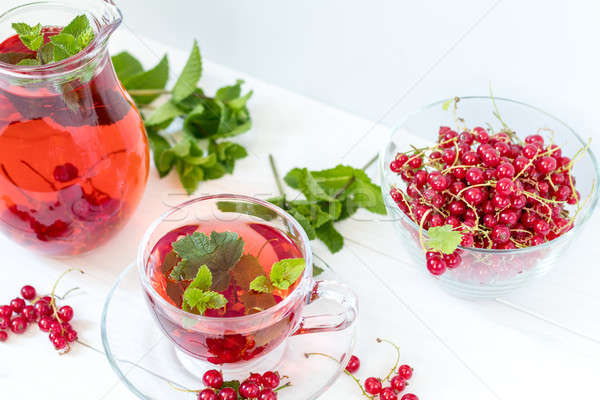 Redcurrant drink in transparent glass carafe and cup. Clear glas Stock photo © artsvitlyna