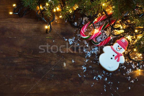 Natal nova iorque escuro ano novo pão de especiarias boneco de neve Foto stock © artsvitlyna
