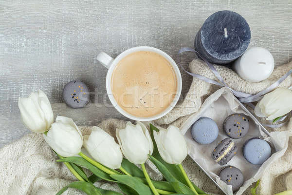 Stock photo: Beautiful romantic composition with coffee, sweet food and flowe