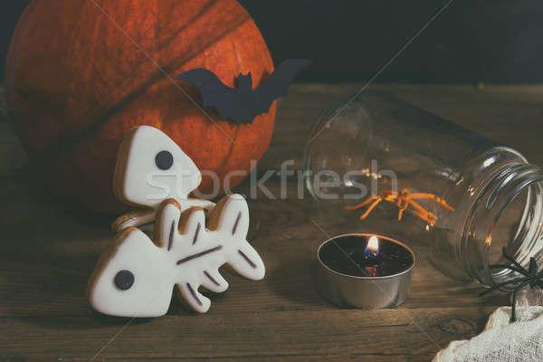 Halloween ev süslemeleri karanlık mumlar örümcekler Stok fotoğraf © artsvitlyna