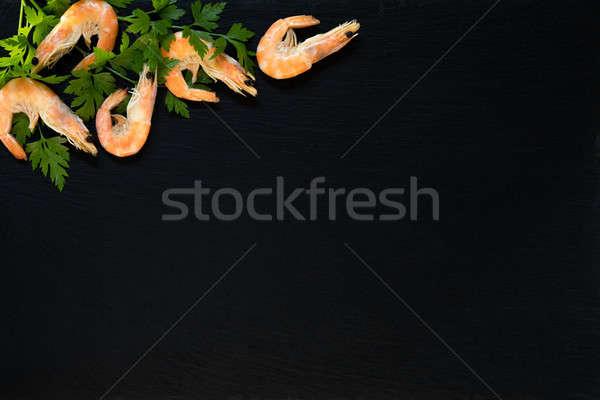 Fresco frutos do mar cozinha rosa camarão Foto stock © artsvitlyna
