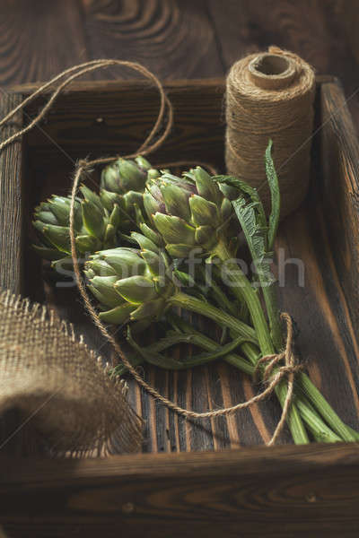 Stock photo: Supplies and materials for artichoke bouquet on wooden backgroun