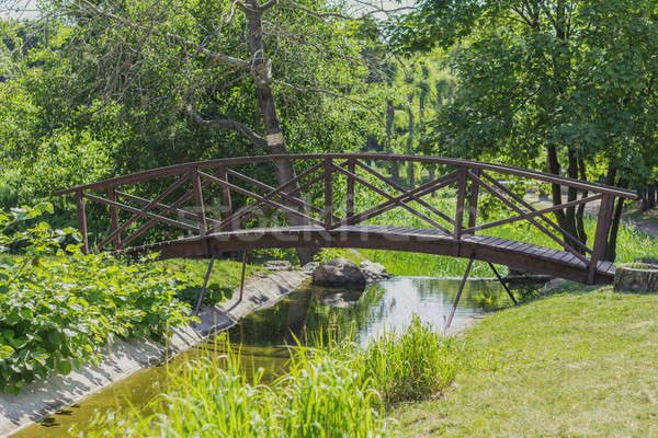 Stock photo: Summer footpath in the city park with a bridge on a sunny day