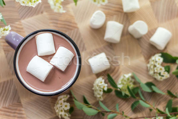 Marshmallows on top of hot cocoa in pink cup Stock photo © artsvitlyna