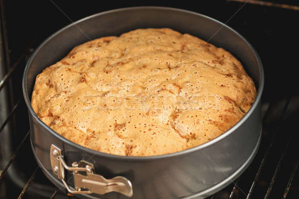 Charlotte, biscuit, pastry, cake in form in the oven Stock photo © artsvitlyna