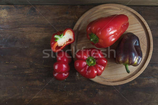Stock photo: Red and purple sweet pepper
