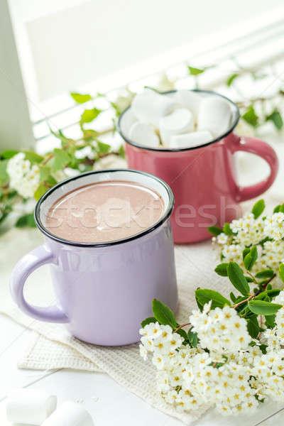 ホット ピンク カップ 新鮮な 春 白い花 ストックフォト © artsvitlyna