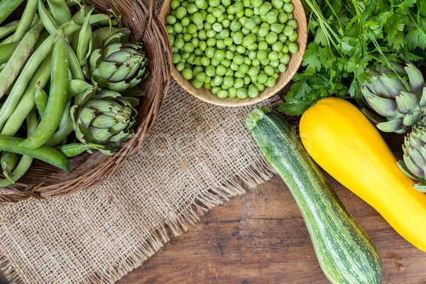 Fresh organic green vegetables on wooden floor  Stock photo © artsvitlyna