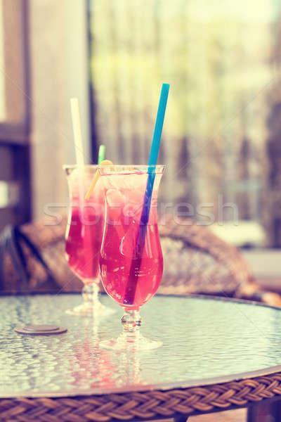 Frischen Limonade transparent Gläser Straße Kaffeehaus Stock foto © artsvitlyna