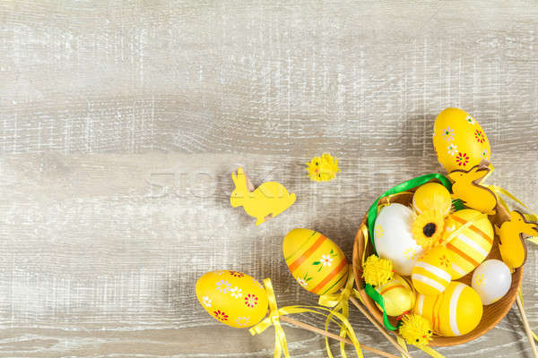 Stock photo: Easter holiday composition in yellow colors