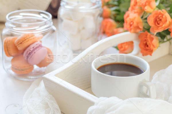Stock fotó: Narancs · csésze · kávé · friss · rózsák · mangó