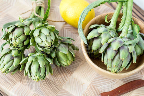 Stock photo: Artichoke bouquets on kitchen table