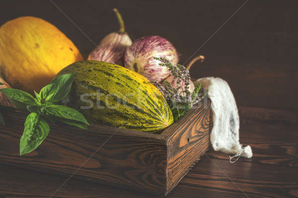 Stock photo: Melon, basil, mint, purple graffiti eggplants, onion and green f