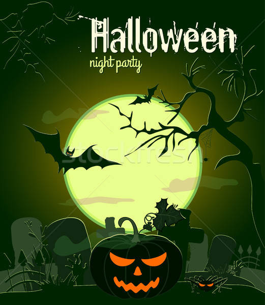 Halloween pumpkin and other characters old cemetery on green Moon background, vector illustration. Stock photo © artsvitlyna