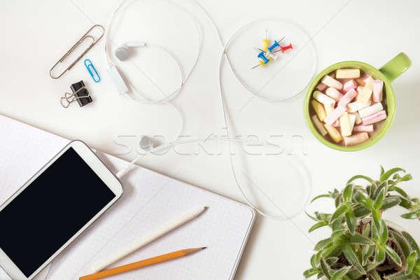 Office desk. Flat lay white background. Stock photo © artsvitlyna