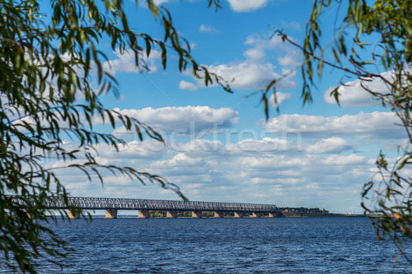 Stock photo: Colorful spring landscape on river with beautiful clouds in the