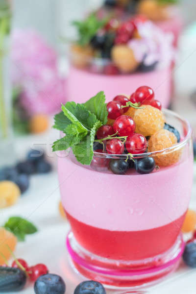 Multivitamin summer berry delicious panacotta. Stock photo © artsvitlyna