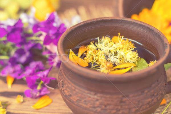 Foto stock: Cerâmico · saudável · chá · medicinal · dois · secar