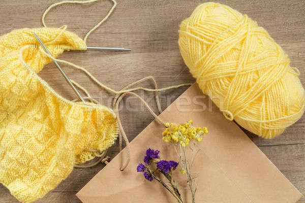 Fény citromsárga köt gyapjú tűk fából készült Stock fotó © artsvitlyna