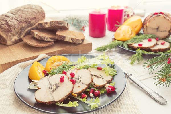 Christmas holiday dinner. Stuffed chicken breast Stock photo © artsvitlyna