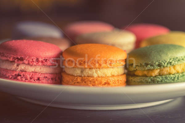 Colorful multicolor sweet delicious macaroons Stock photo © artsvitlyna