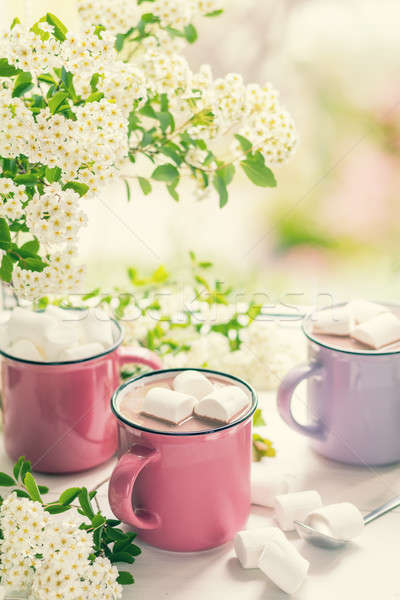Hot cocoa with marshmallows in pink cups Stock photo © artsvitlyna