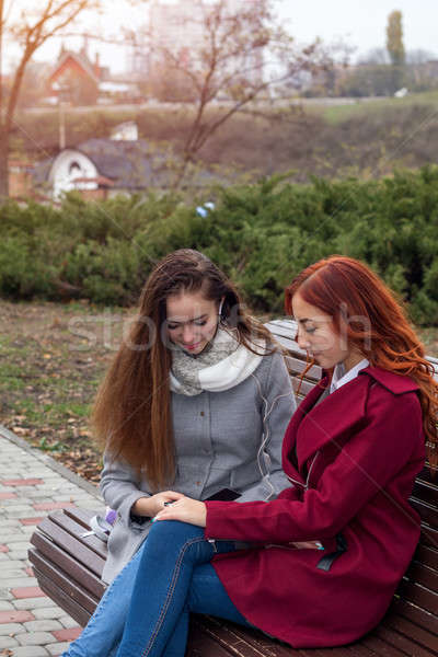 Stock photo: Female teenagers discussing a book sitting on the bench in an au