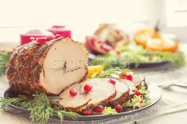 Stock photo: Christmas holiday dinner. Stuffed chicken breast