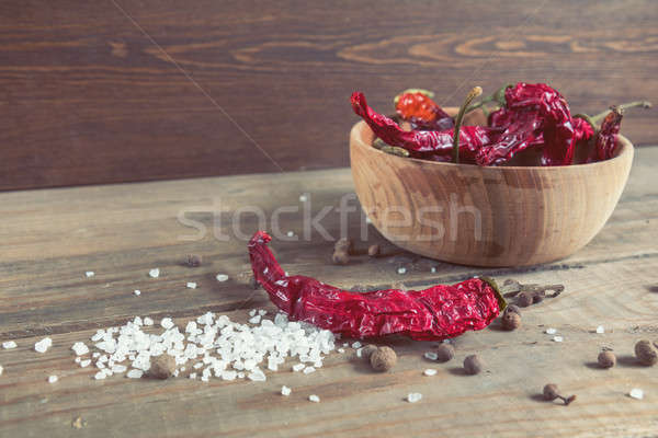 Dried chili peppers in a wooden bowl Stock photo © artsvitlyna