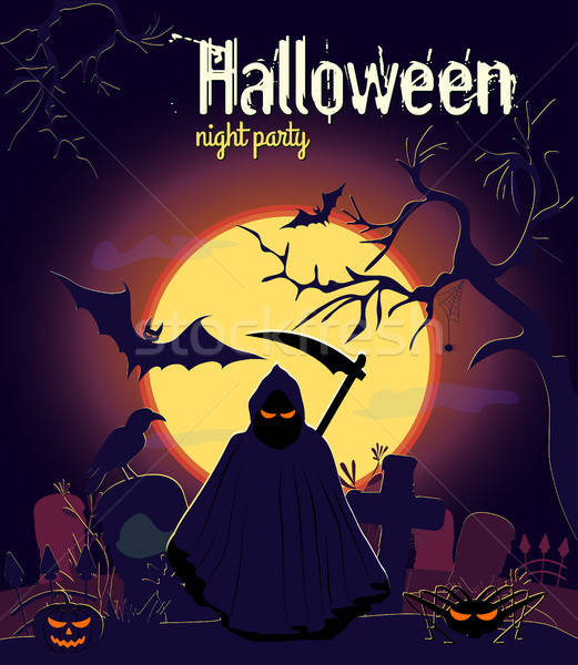 Stock photo: Halloween reaper and other characters on old cemetery and yellow Moon background, vector illustratio