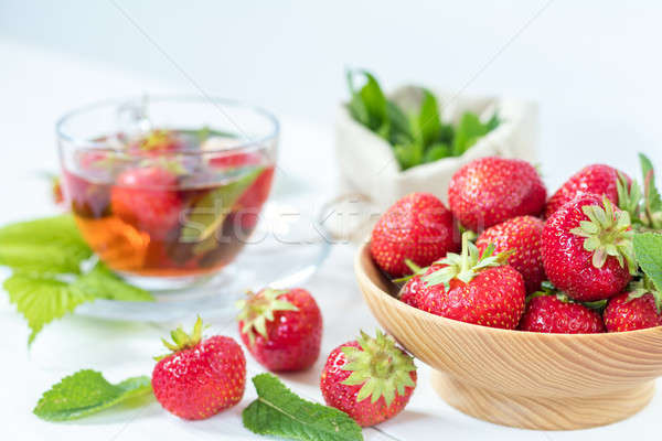 Fresh strawberry and summer tea.  Stock photo © artsvitlyna