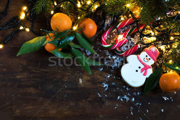 Christmas and New Year dark composition Stock photo © artsvitlyna