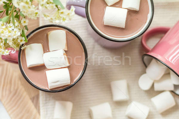 Stock photo: Marshmallows on top of hot cocoa in pink cup