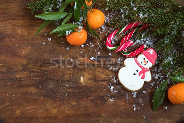 Christmas ny donkere nieuwjaar peperkoek sneeuwpop Stockfoto © artsvitlyna