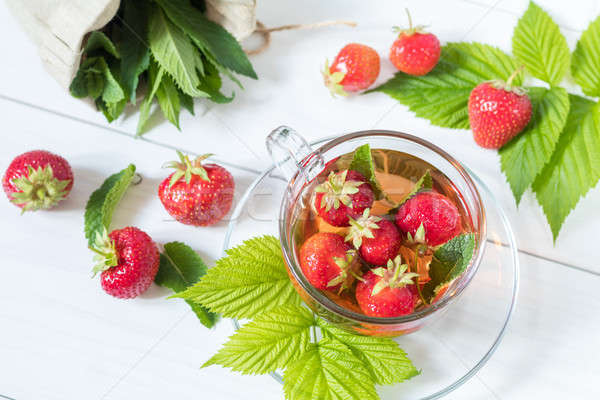 Fresh strawberry and summer tea.  Stock photo © artsvitlyna
