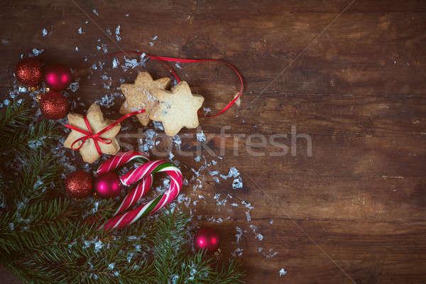 Christmas ny donkere nieuwjaar cookies feestelijk Stockfoto © artsvitlyna