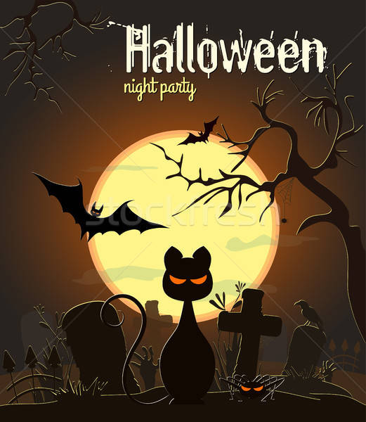 Stock photo: Halloween black cat and other characters on old cemetery and yellow Moon background, vector illustra