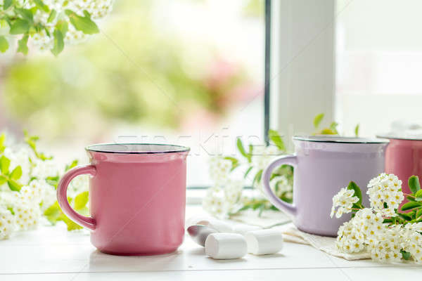 Stock photo: Hot cocoa with marshmallows in pink cups
