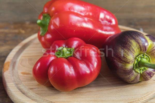 Red and purple sweet pepper Stock photo © artsvitlyna