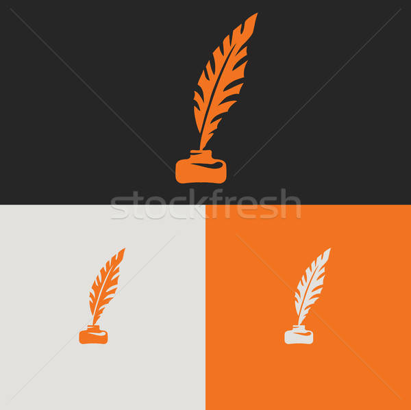 Stock photo: Vector pen feather and ink bottle