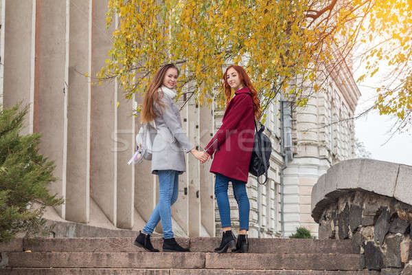 Two female teenagers walking up the stone steps holding hands in Stock photo © artsvitlyna