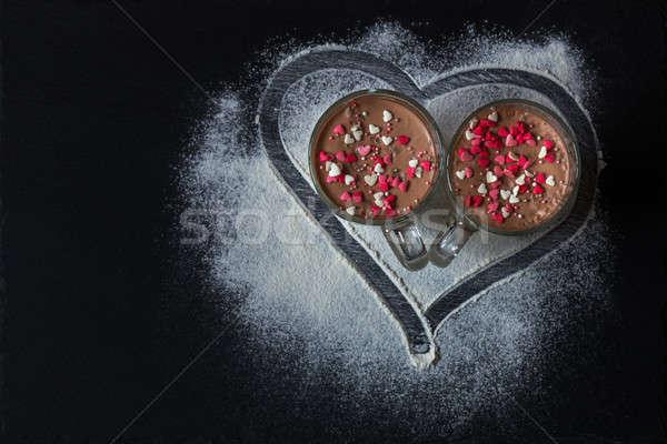 Delicious vanilla and chocolate pannacotta  Stock photo © artsvitlyna