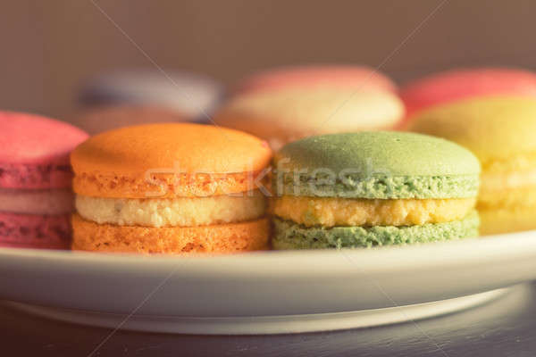 Stock photo: Colorful multicolor sweet delicious macaroons