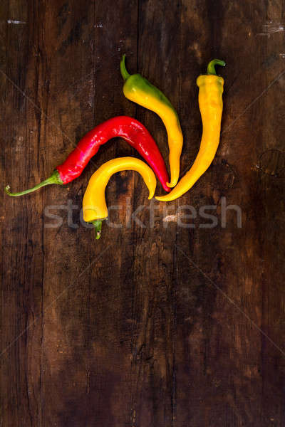 Stock photo: Red and yellow hot peppers