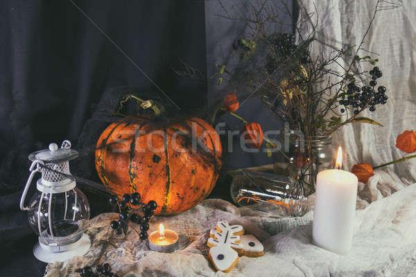 Halloween home decorations on dark background Stock photo © artsvitlyna