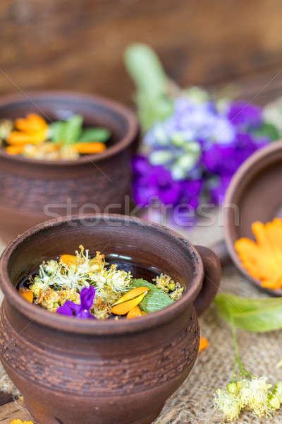 Foto stock: Cerâmico · saudável · dois · chá · medicinal
