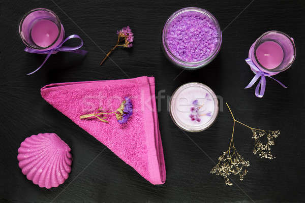 Spa products. Violet purple concept. Stock photo © artsvitlyna